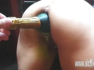 Extreme giant anal bottle penetrations