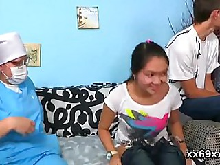 Artful physician rubs innocent teenie tight slit in threesome