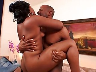 Young ebony gal Lailonni Ballixxx is being nailed by experienced bald dude