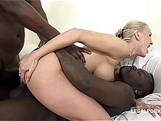 Kinky luxury cougar Iskra discovers interracial and takes 2 BBC's in her Ass