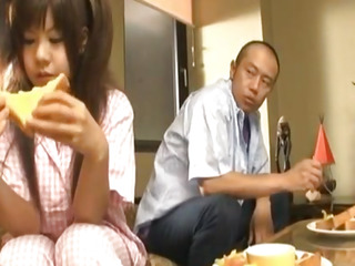 Shino Nakamura gets cum on fucked shaved crack from sucked cock