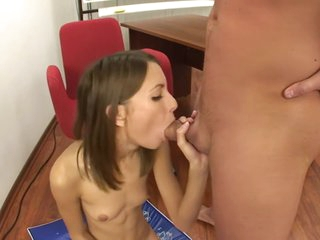 Russian Teen punished with hard deep throat and sucking and anal