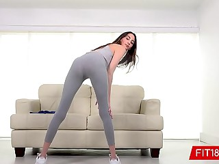 FIT18 - Natalia Nix - Tall Skinny Brunette Teen Comes In For Fitness Casting