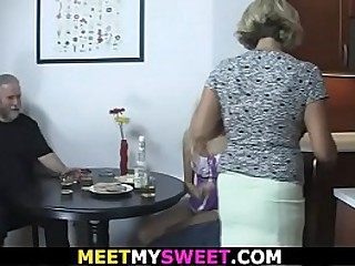 His young girlfriend involved into family 3some
