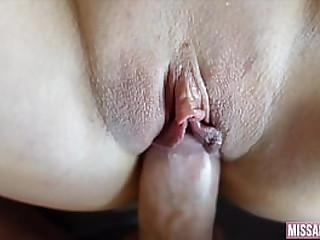 Tight creamy pussy makes him cum hard HD POV