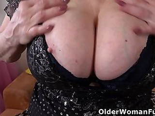 Sultry grandma Deborah from Europe massages her big tits and fucks her old cunt with a dildo (brand NEW video available in Full HD 1080P). Bonus video: European granny Tarra.